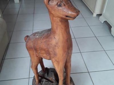 Chamois en bois sculpté 1,10 mètre
